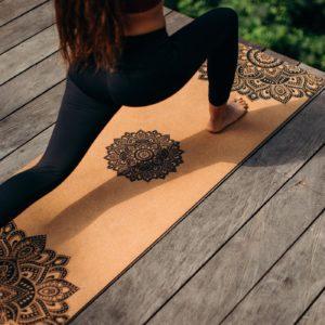 Tappetino yoga in sughero da 3,5 mm - Mandala Black